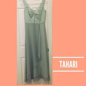 TAHARI sea foam green formal prom wedding dress